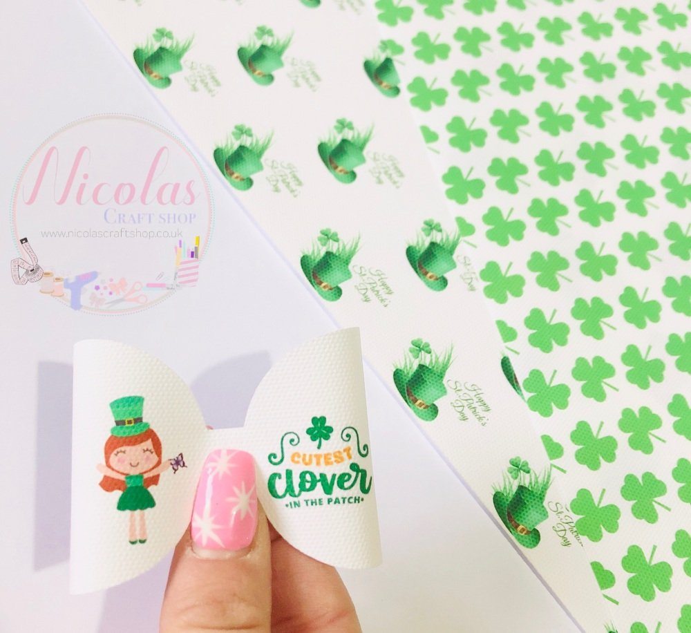 Cutest clover in the patch printed pre cut bow loop