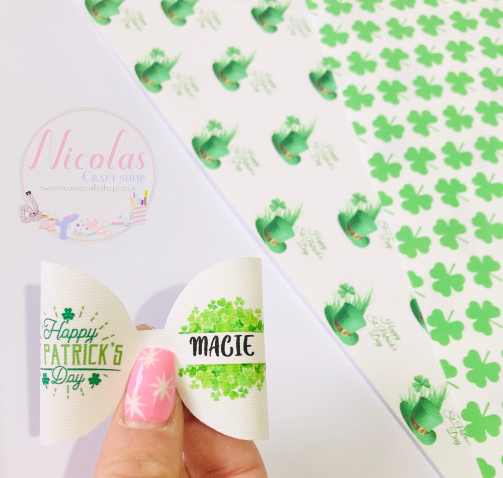 Happy st patricks day personalised printed pre cut bow loop