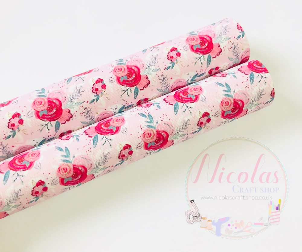 1389 - Valentines Day inspired floral flower print printed canvas sheet