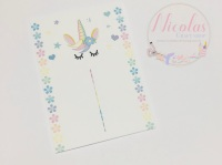 PASTEL SLEEPING UNICORN FLORAL PACK OF 10 PRINTED BOW CARDS