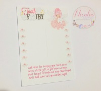 PINK TOOTH FAIRY - PACK OF 10 PRINTED BOW CARDS