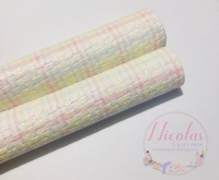 Woven pastel rainbow easter printed leatherette fabric