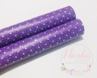 Purple gloss heart printed leather