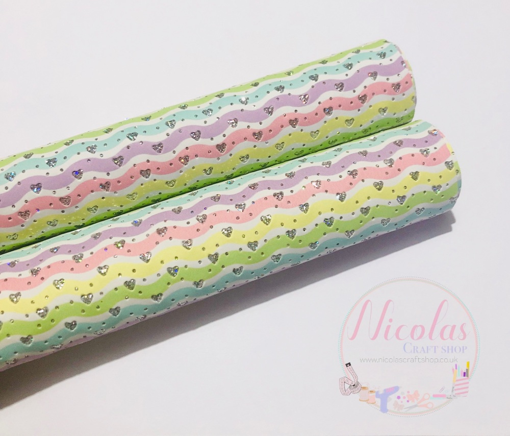 Pastel rainbow wiggly gloss heart printed leather
