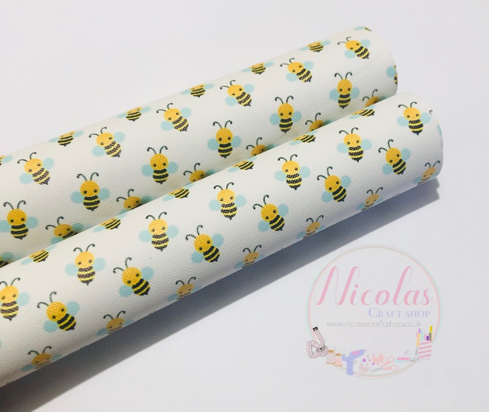 Bumble bee printed leatherette fabric