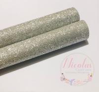 A grade - silver litchi glitter printed fine glitter