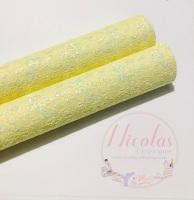 Pale yellow lace fine glitter fabric