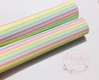 Pastel rainbow stripe printed leatherette fabric