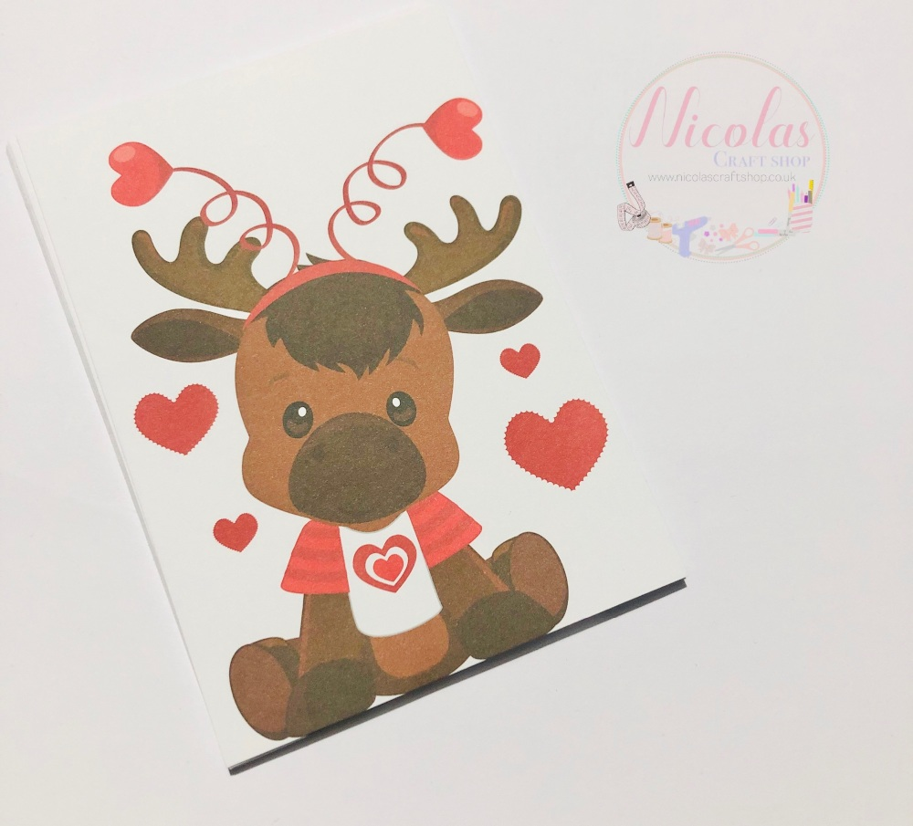 Valentine Moose love heart printed bow cards (pack of 10)