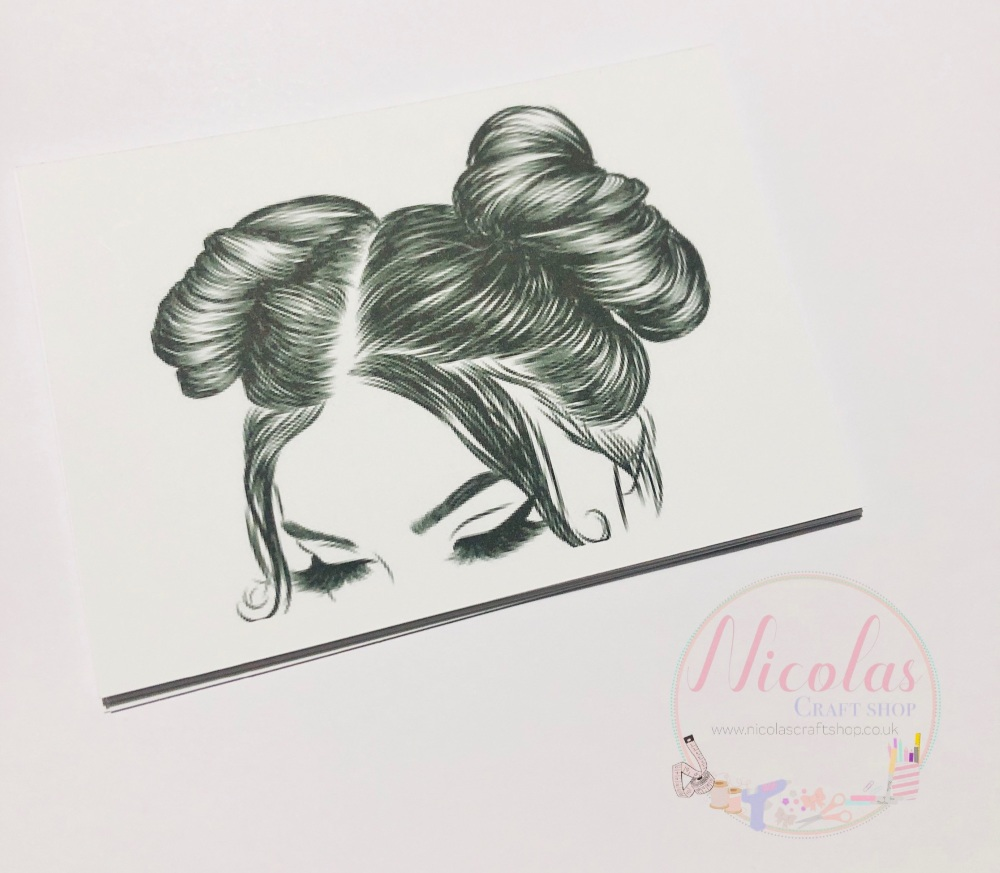 DOUBLE Bun thick eyelashes printed bow cards (PACK OF 10)