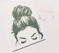 Messy Bun thick eyelashes printed bow cards (PACK OF 10)