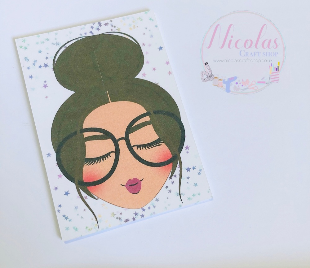 Sweet & innocent brown haired girl bow display cards (Pack of 10)