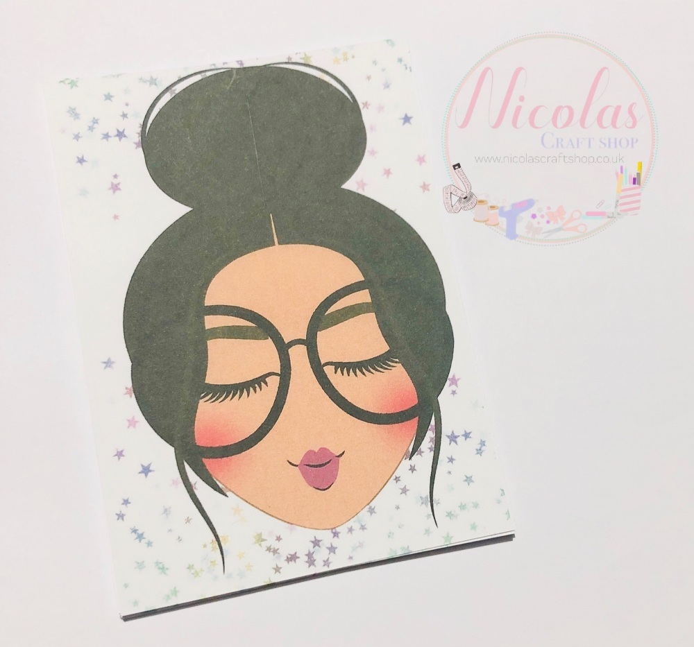 Sweet & innocent Dark haired girl bow display cards (Pack of 10)