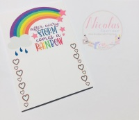 After Every Storm Comes A Rainbow printed Bow display cards