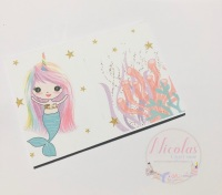 Mermaid Pastel - All that rainbow unicorn horn printed bow cards (pack of 10)