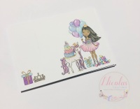 COTTON CANDY BROWN / BLACK HAIR HAPPY BIRTHDAY GIRL PRINTED BOX CARDS