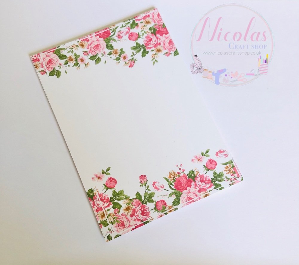Pink rose flower printed bow cards (pack of 10)