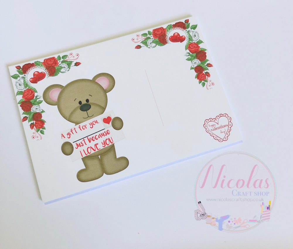 A gift for you because i love you printed bow cards (pack of 10)