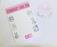 Colour me in easter printed bow cards (pack of 10)