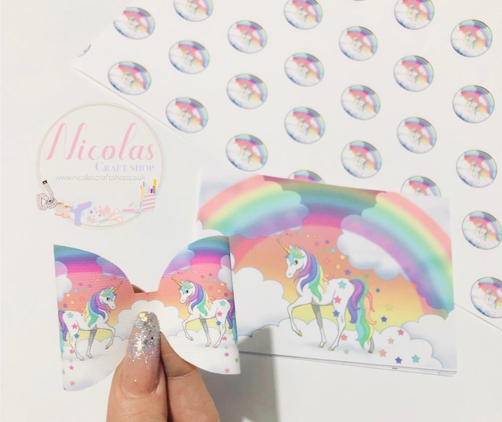 The rainbow unicorn printed pre cut bow loop