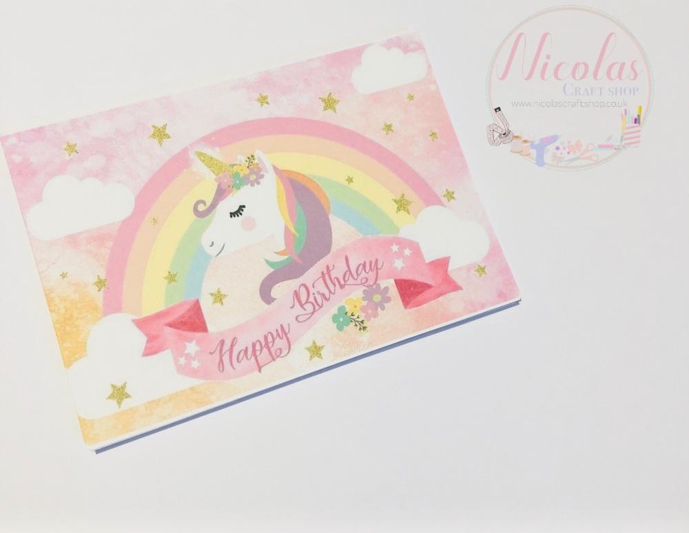 Happy Birthday unicorn printed bow cards (pk of 10)