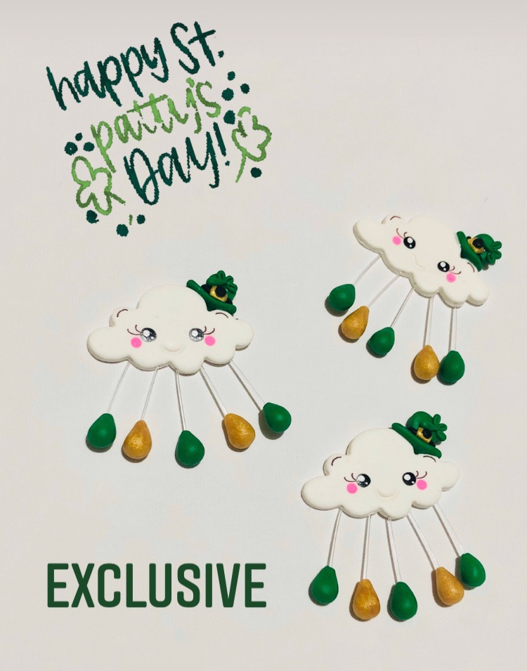 St Patrick's day lucky cloud polymer clay