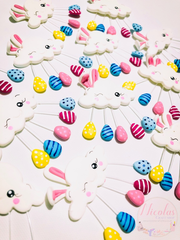 Easter egg bunny cloud polymer clay