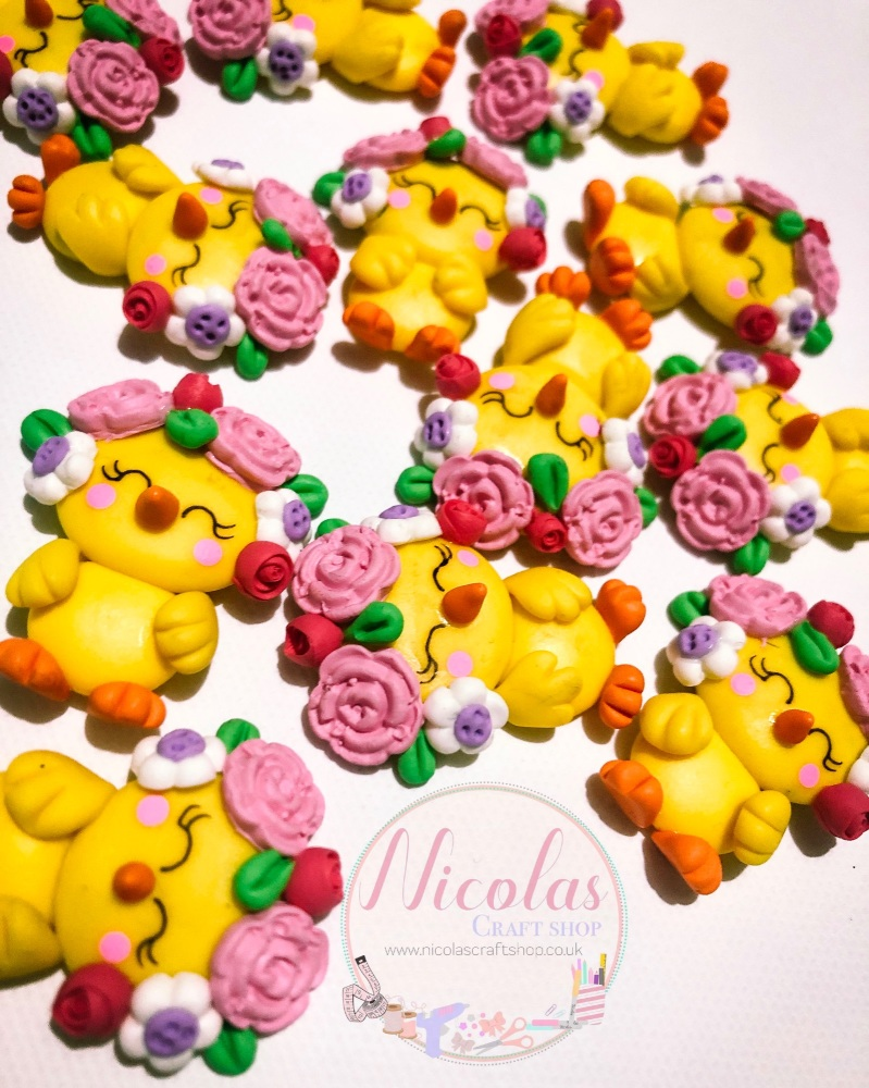 Floral Spring chick Easter edition polymer clay