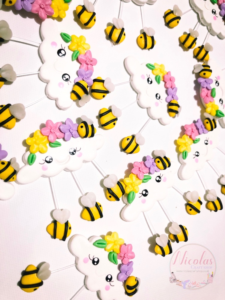 The Bee inspired cloud polymer clay