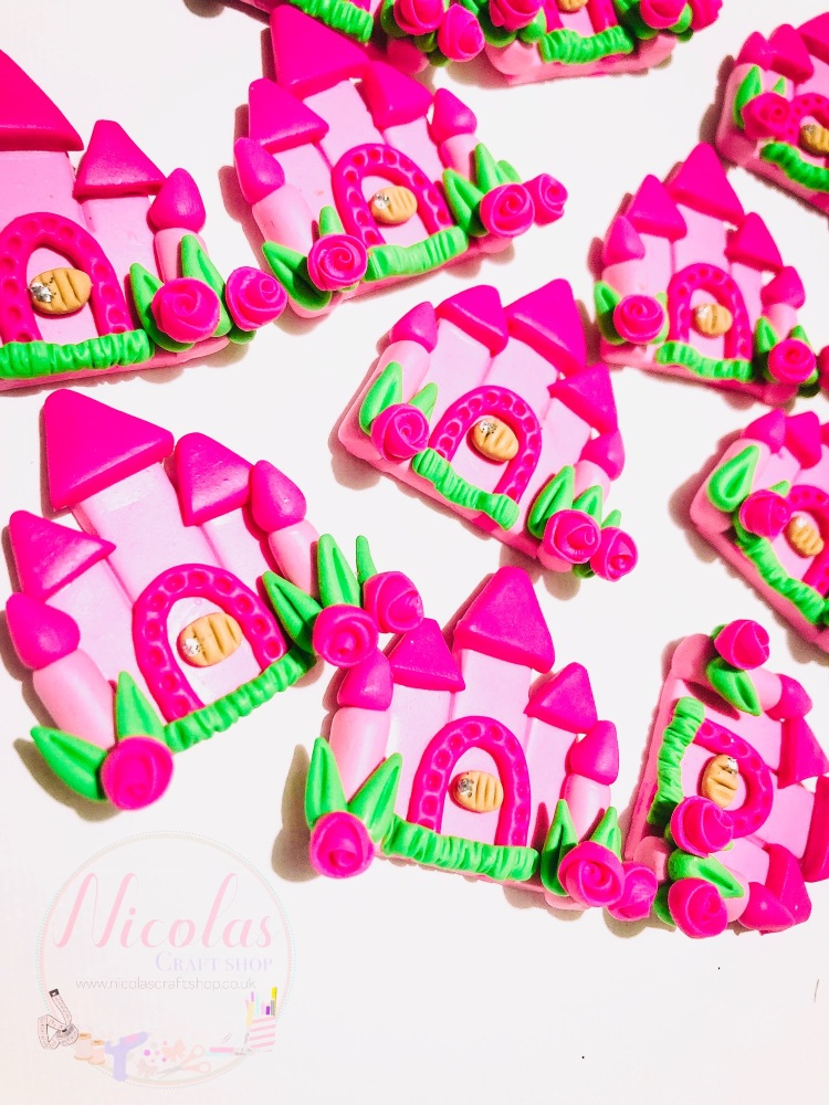 Pretty Princess Castle bright pink polymer clay