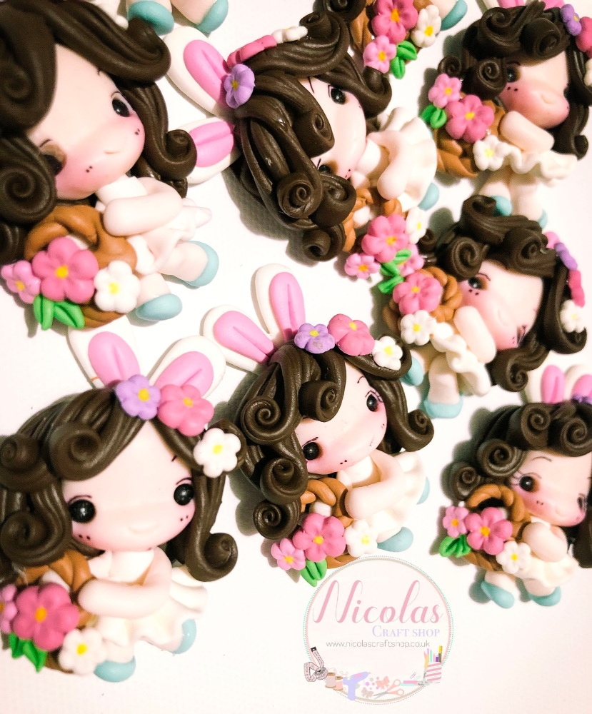 White dress bunny ear floral girl doll polymer clay