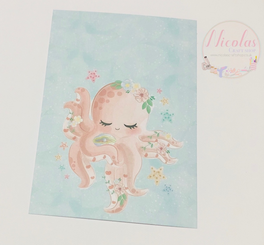 Cute Baby Octopus Printed bow card (pack of 10)