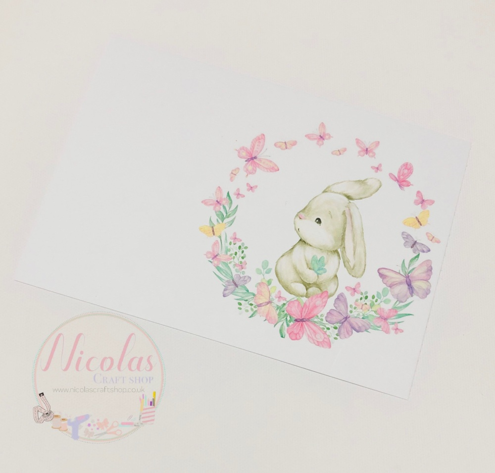 Floral Butterfly Baby Bunny Printed bow card (pack of 10)