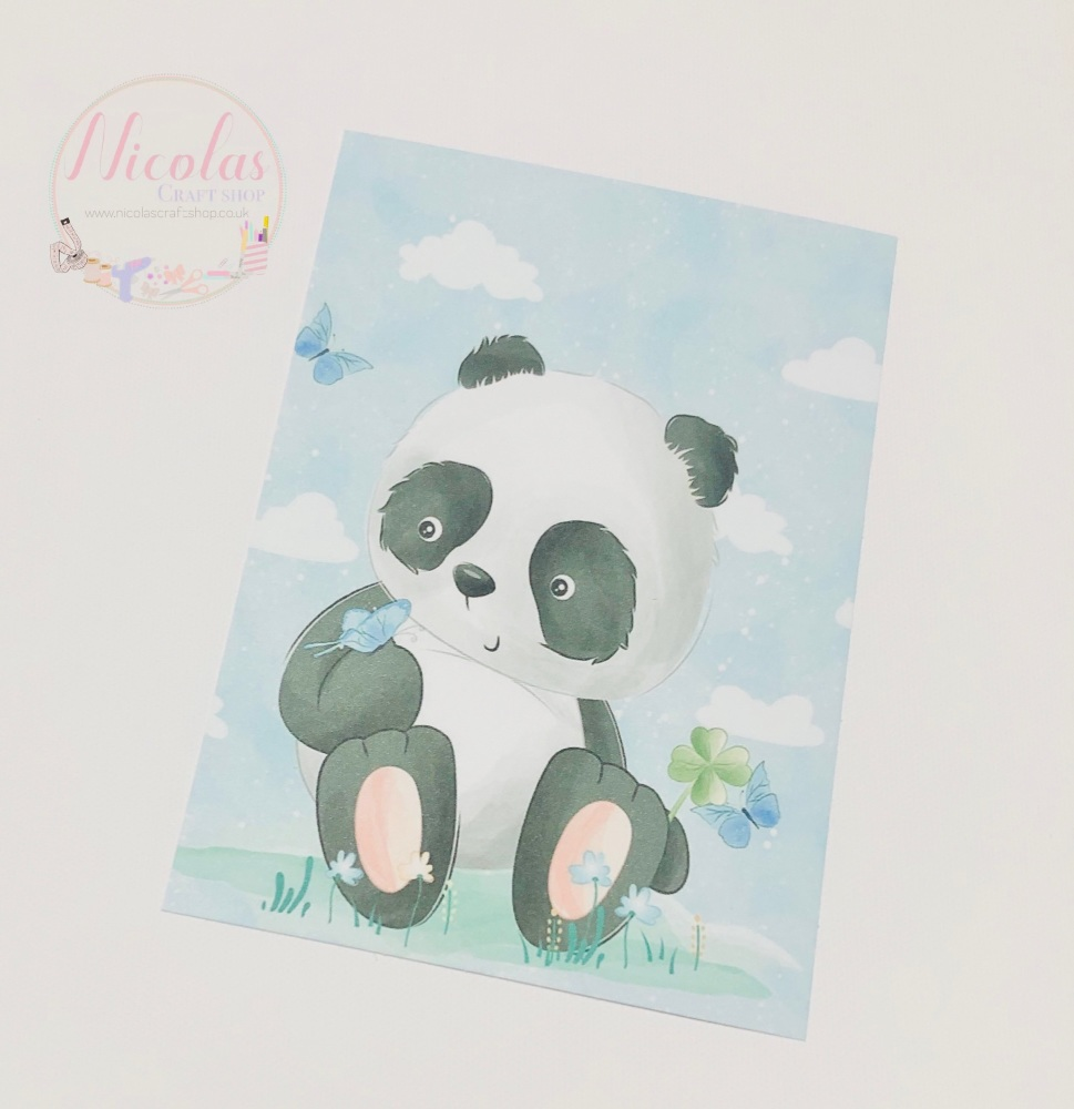 Panda butterfly Printed bow card (pack of 10)