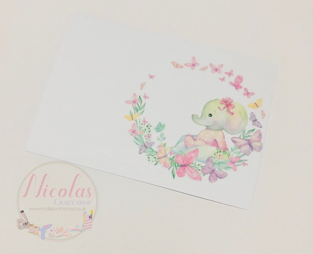 Floral Butterfly Baby Elephant Printed bow card (pack of 10)