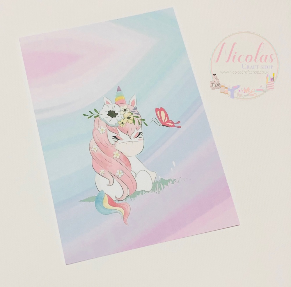 Watercolour Shy Unicorn Printed bow card (pack of 10)