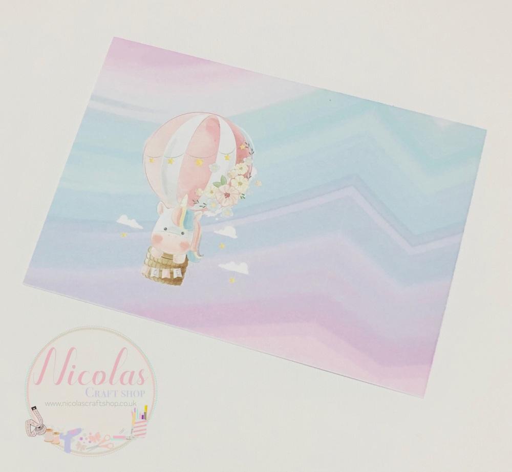 Watercolour Hot air balloon unicorn Printed bow card (pack of 10)