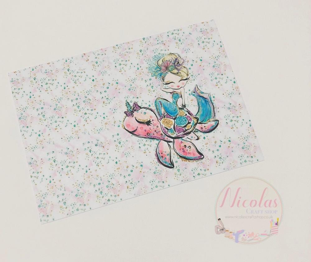 Mermaid sea turtle Printed bow card (pack of 10)