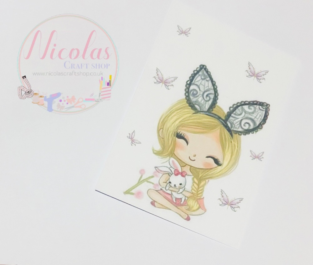 EASTER EDITION - Blonde bunny ear girl printed bow cards (10 pack)