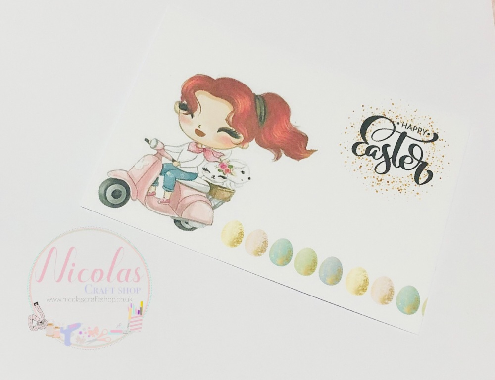 EASTER EDITION - Red head scooter bunny printed bow cards (10 pack)