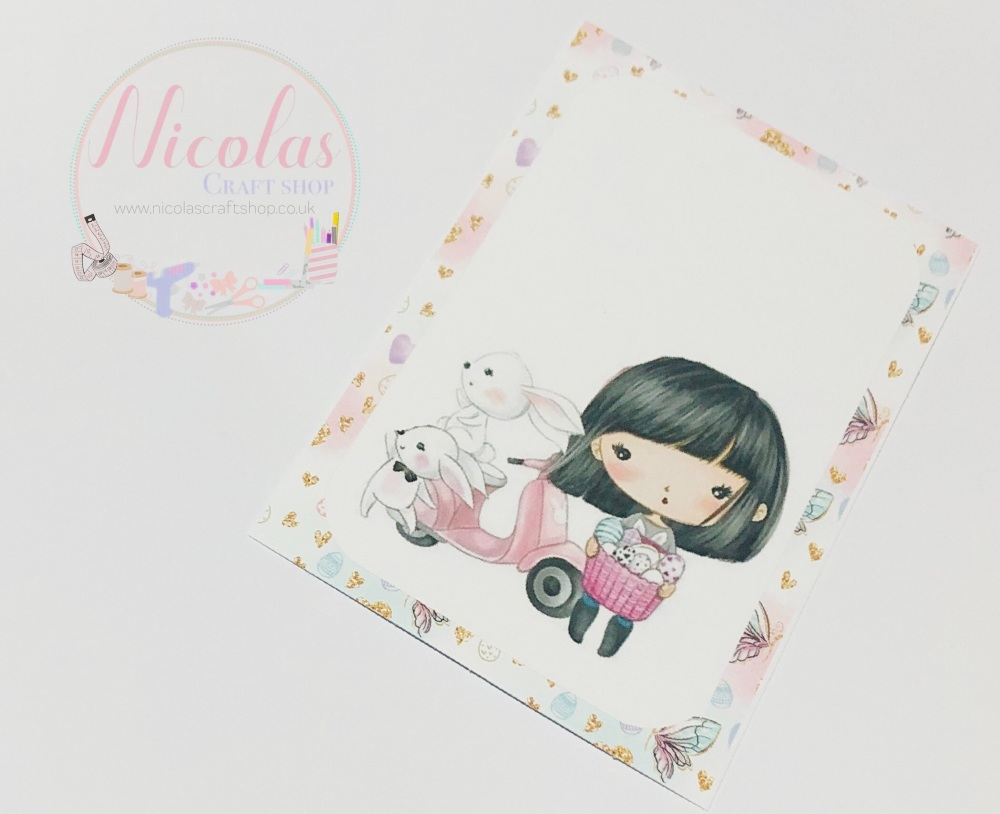 EASTER EDITION - Black hair scooter bunny printed bow cards (10 pack)