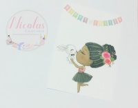 EASTER EDITION - Black hair kissable bunny printed bow cards (10 pack)