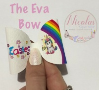 The Eva Easter Unicorn printed pre cut bow loop