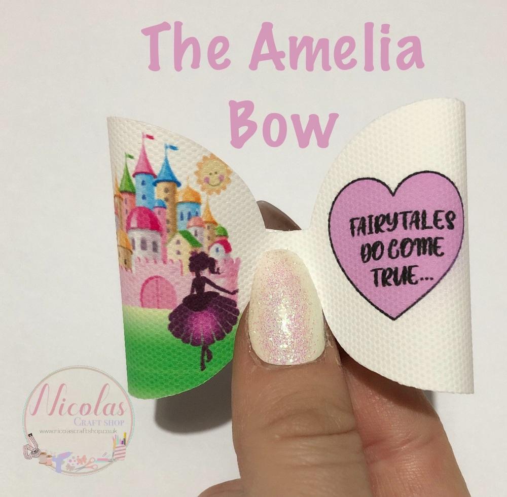 The Amelia Fairytales do come true printed pre cut bow loop