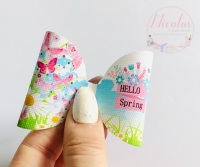 Hello spring daisy butterfly pre cut printed bow loop