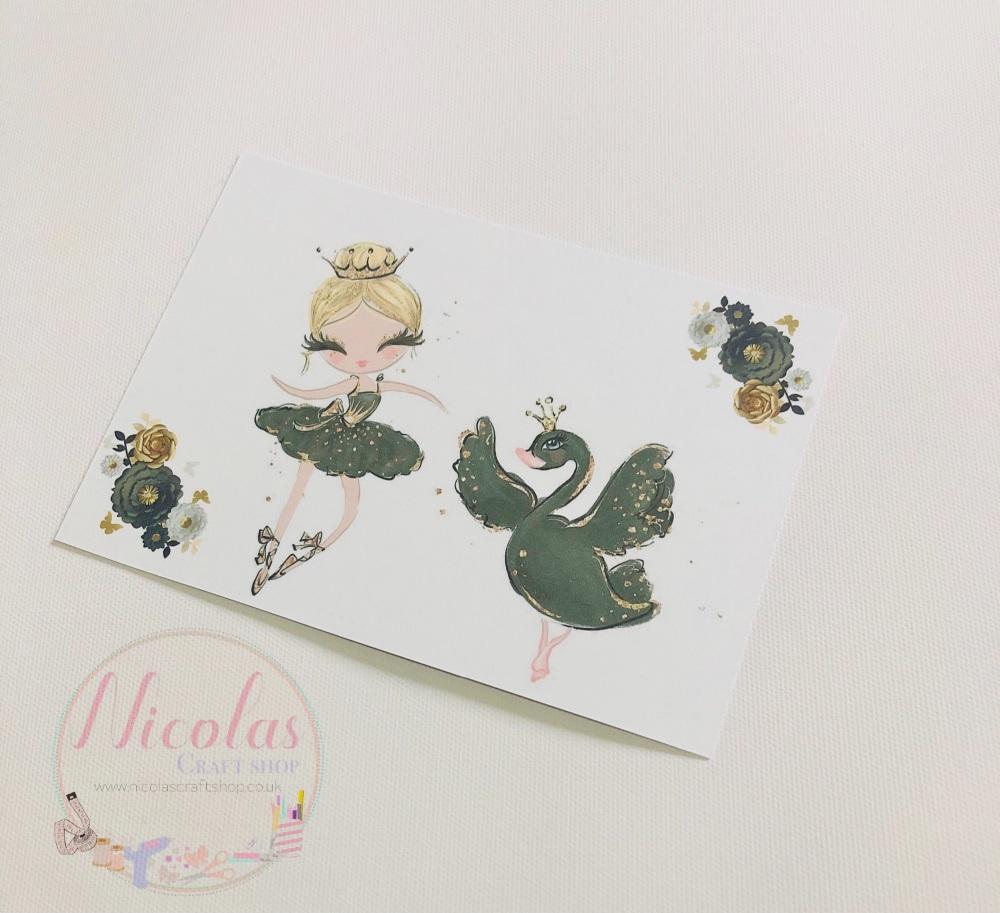 Black swan ballerina printed bow cards (10pk)