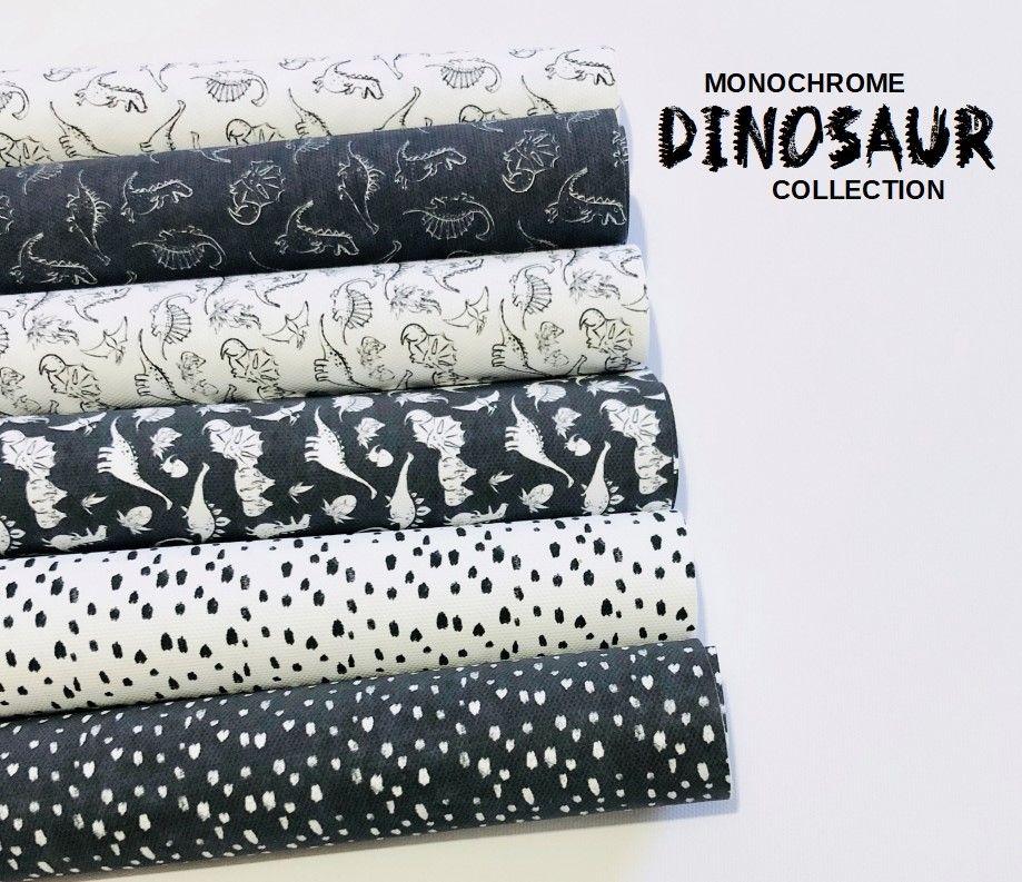 Monochrome Dinosaur Collection Printed Canvas Bundle