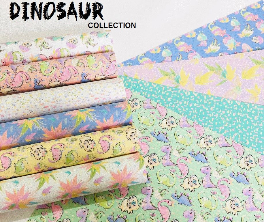 Pastel Girl Dinosaur Collection Printed Canvas Bundle