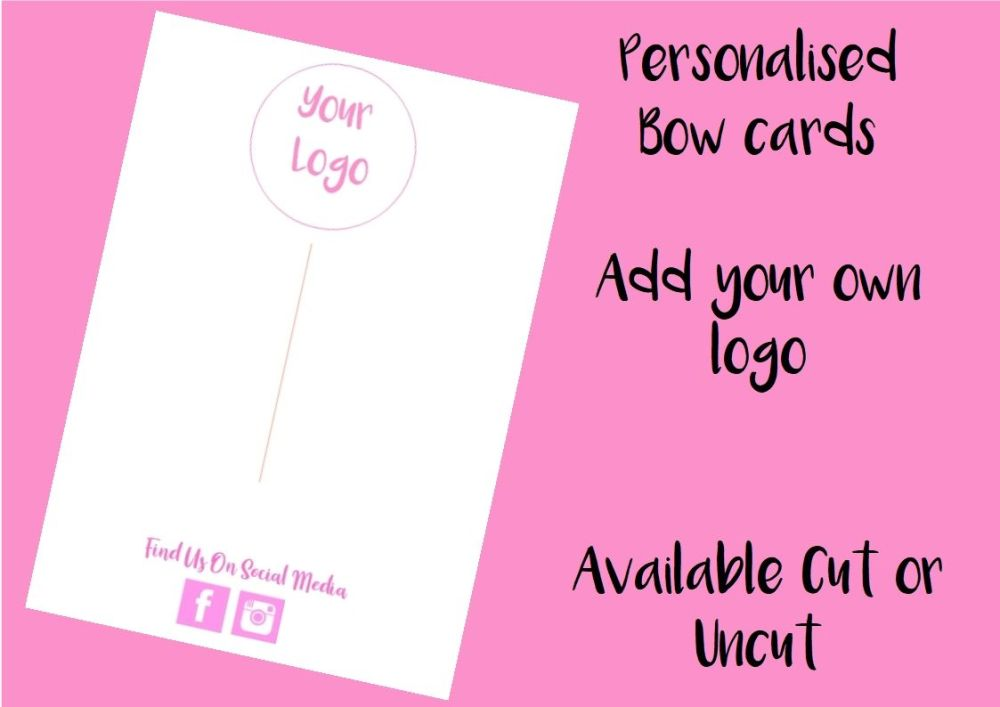 PINK - Personalised Business Logo Printed Bow Cards