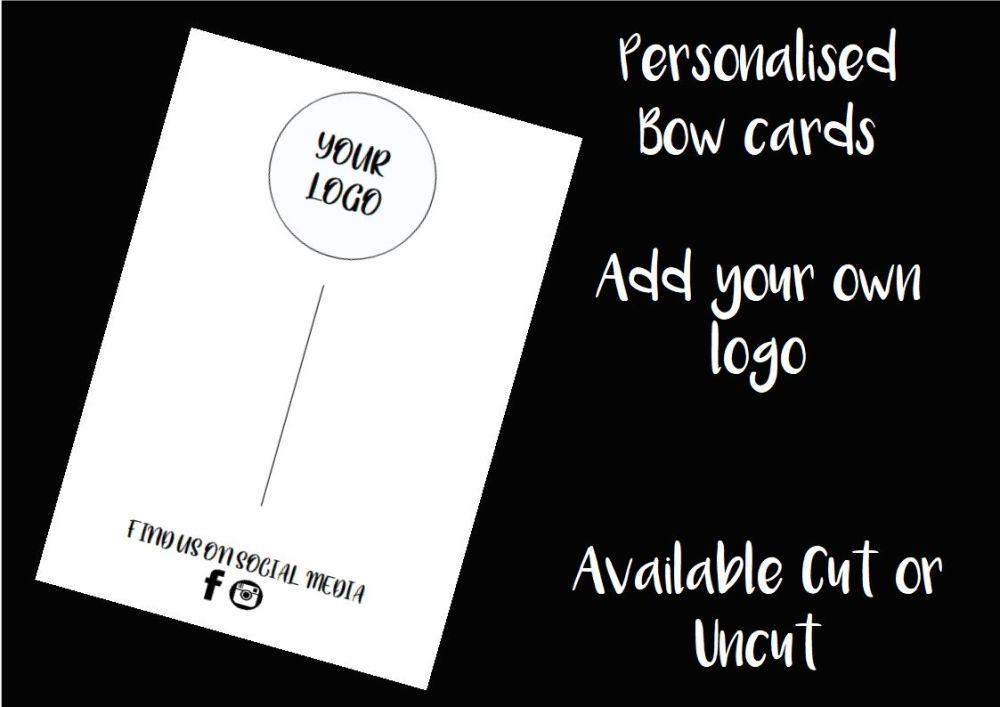 BLACK - Personalised Business Logo Printed Bow Cards